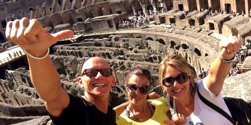 Francesco and guests tour the Colosseum