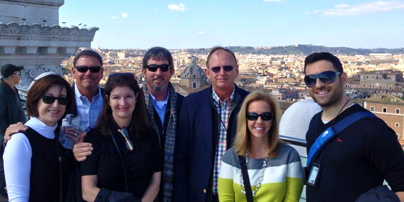 Marco shows his guests a fantastic view of Rome