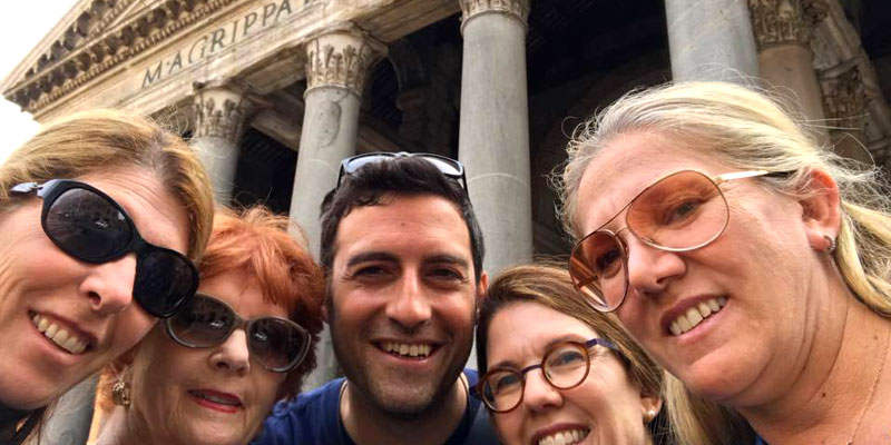 Marco with new friends near the Pantheon